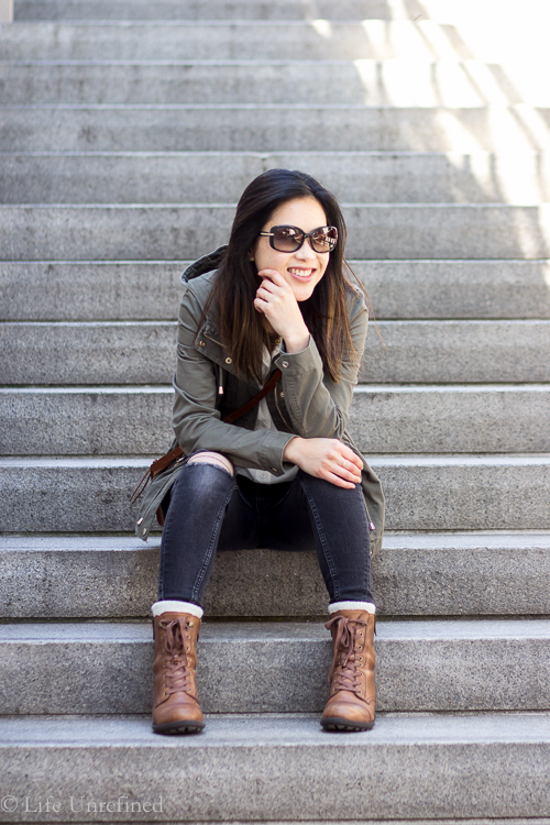 olive military jacket every day outfit